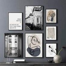 Affiche murale abstraite avec citations de rue, balcon, Paris, affiche Vintage, toile d'art imprimé, décor, images pour salon