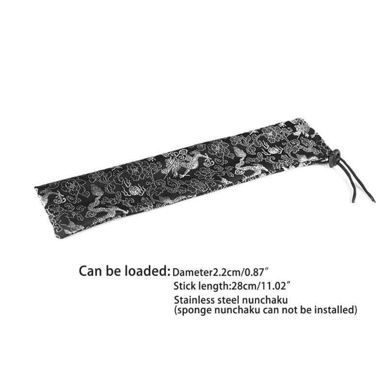 """印刷ヌンチャク収納袋巾着ための 11 """"中国カンフー材料芸術製品 E65D"""