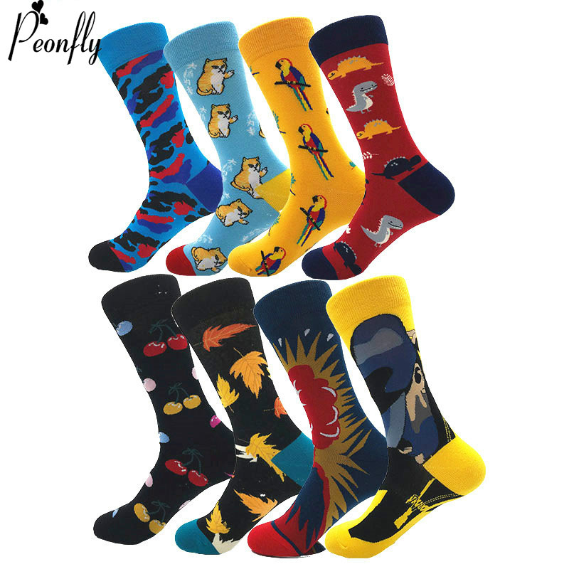 PEONFLY Creative Men's Colorful Striped Cartoon Combed Cotton Happy Socks Crew Wedding Gift Casual Crazy Funny Socks Crazy
