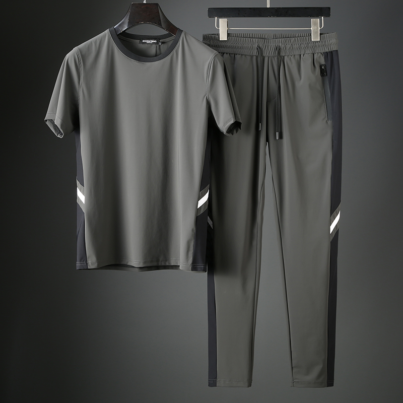 JSBDSummer High-end Color Contrast Sports Suit Men Cool Ice Silk Stretch Fabric Men Casual Short Sleeve Suit Thin