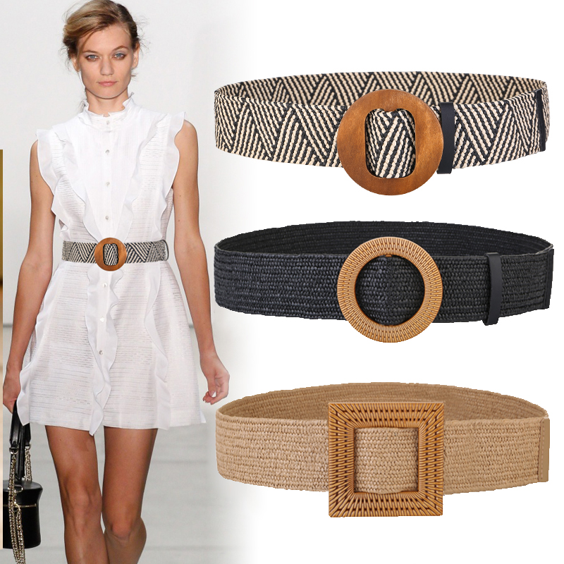 New Vintage Knitted Wax Rope Wooden Bead Waist Rope Women Smooth Buckle Belt Woman Woven Female Elastic Braided Belt