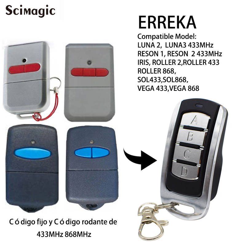 ERREKA LUNA RESON Garage Remote 433mhz Fixed Code ERREKA 868mhz 433.92mhz Rolling Code Remote Control