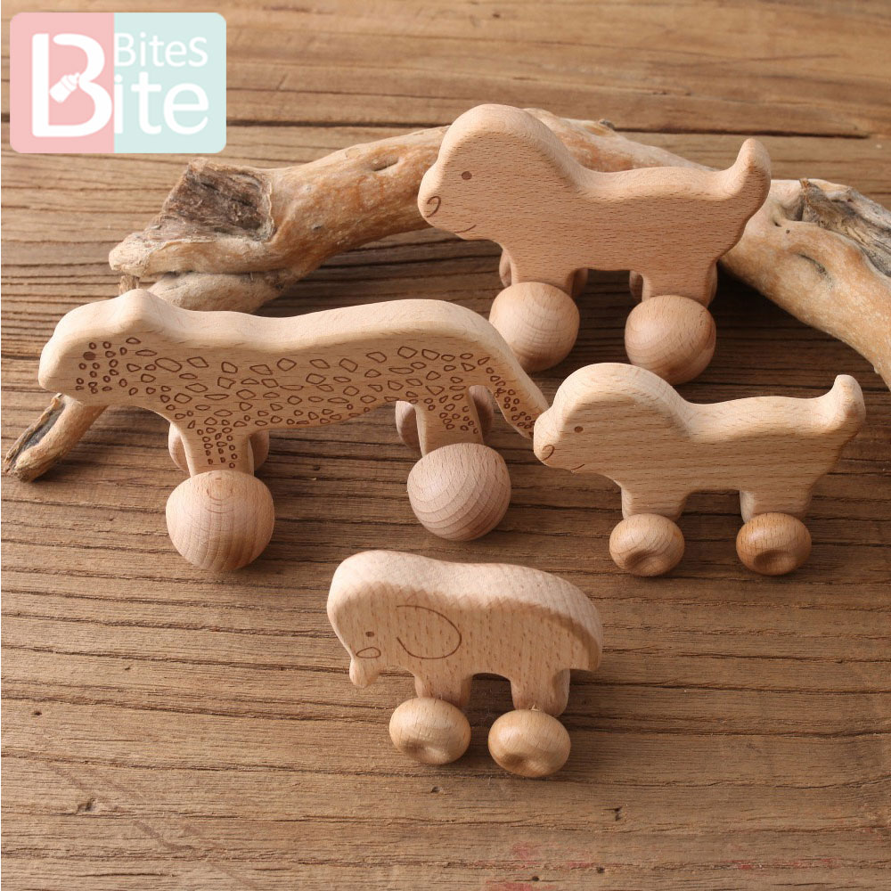 1PC Baby Teether Toy Beech Wooden Animals Dogs Car Cartoon Elephants Montessori Toys For Children Teething Nursing Baby Products