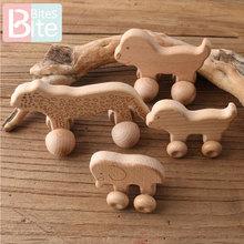 1PC Baby Teether Toy Beech Wooden Animals Dogs Car Cartoon Elephants Montessori