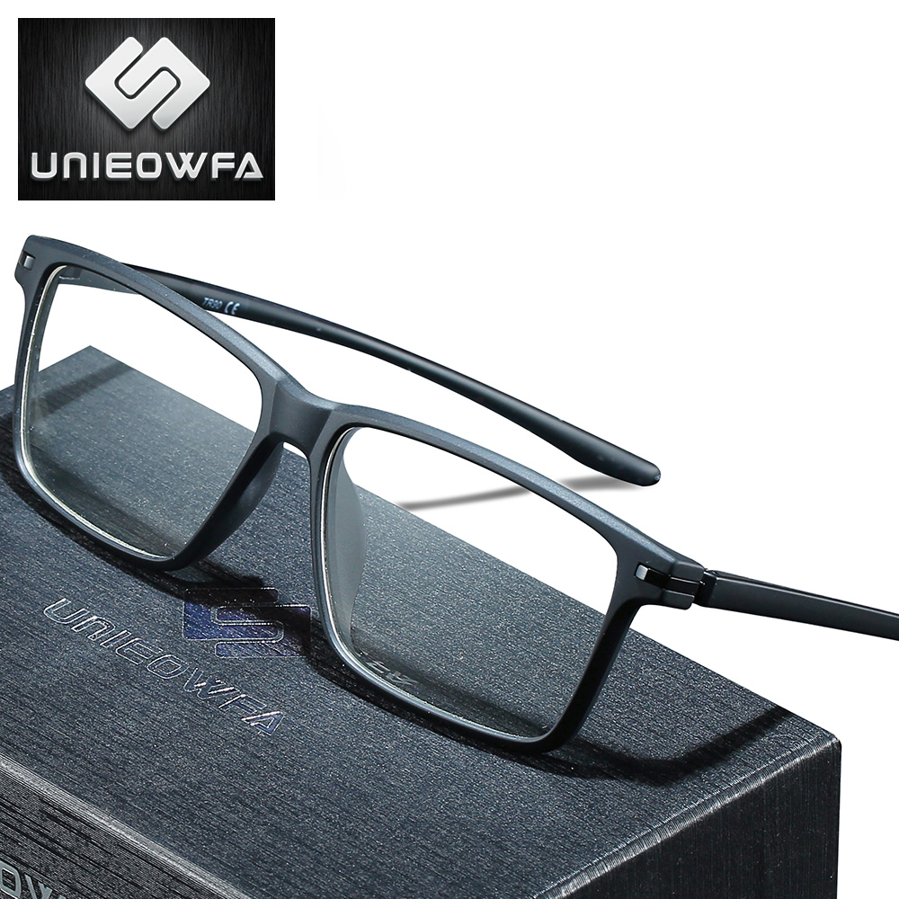 UNIEOWFA Clear Optical Prescription Glasses Men Photochromic Anti Blue Light Eyeglasses Progressive Myopia Eyewear TR90 Frame