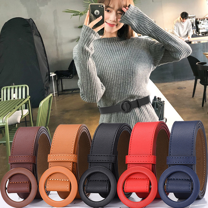 2019 Round Pin Buckle Belt Women No Needle Pu Leather Wide Belts For Jeans Dress Skirts Solid Waistband Strap Belt Girdle Kemer