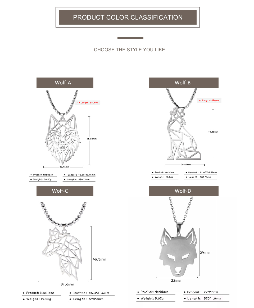 He6c9ac67524e4683829220328a4872bbk - My Shape Wolf Animal Necklace 316L Stainless Steel Forest Animals Men Necklace Hollow Cut Out Pendant Jewelry Gift For Women