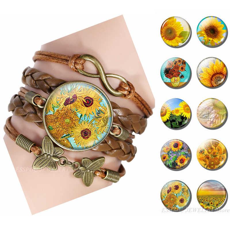 Di nuovo Modo di Van Gogh Girasoli Fatti A Mano Braccialetto di Infinity braccialetto di Cuoio di Fascino Del Fiore Bracciali per Uomo Donna