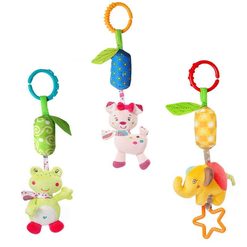 Baby Rattles Christmas Crib Mobile Stroller Animal Wind Chimes Anime Baby Toys 0-12 Months Toys for Newborns Cartoon Plush Dolls
