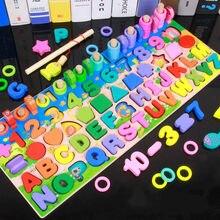 Montessori crianças educação classe nova digital alfabeto pesca placa logarítmica emparelhado de madeira multifuncional com quebra-cabeça