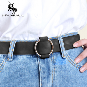 JIFANPAUL Womens high quality fashion needle-free round hole alloy buckle jeans with ladies retro student belt free shipping