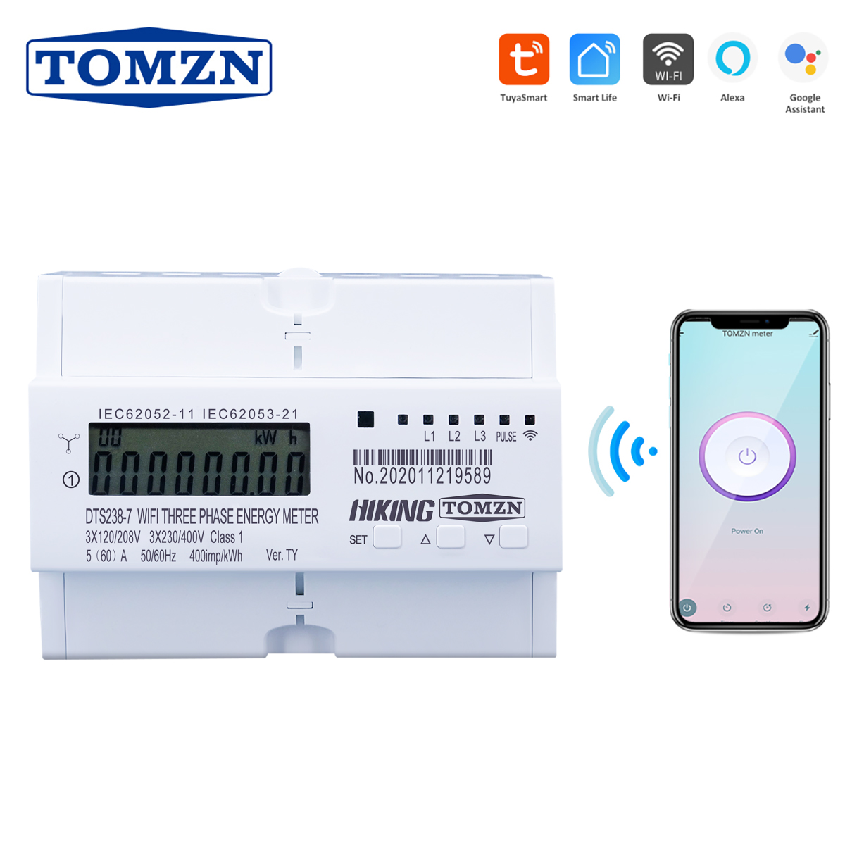 Tuya 3 Phase Din Rail WIFI Smart Energy Meter timer Power Consumption Monitor kWh Meter Wattmeter 3 120V 3 220V 3 230V 50 60Hz