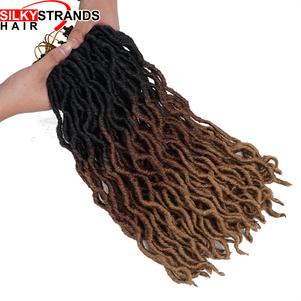 20inch 24 Strands Ombre Faux Locs Curly Crochet Hair Kanekalon Dread Locs Synthetic Senegalese Twist Hair Extensions for Women