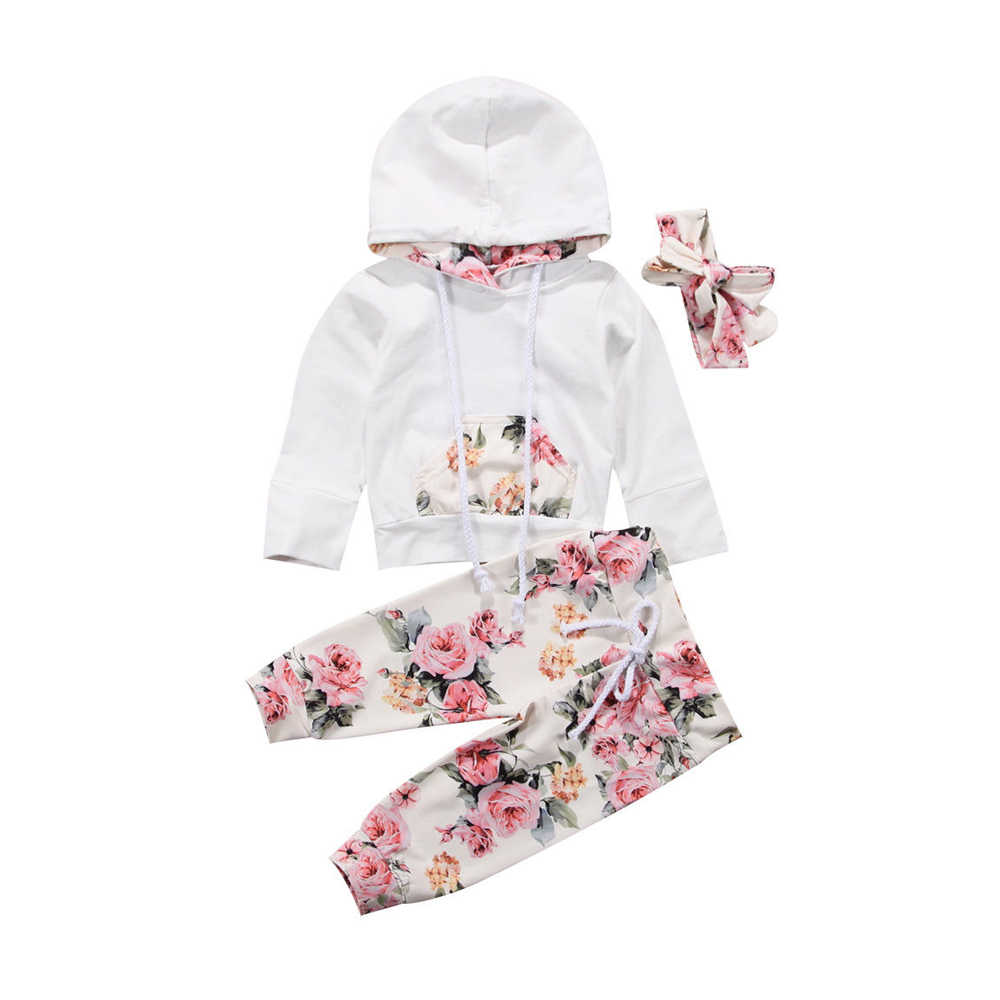 Pudcoco 3PCS Set Hooded Print Toddler Baby Girl Clothes Casual Cotton Long Sleeve Hooded Tops +Floral Pants Outfits 6-24 Months