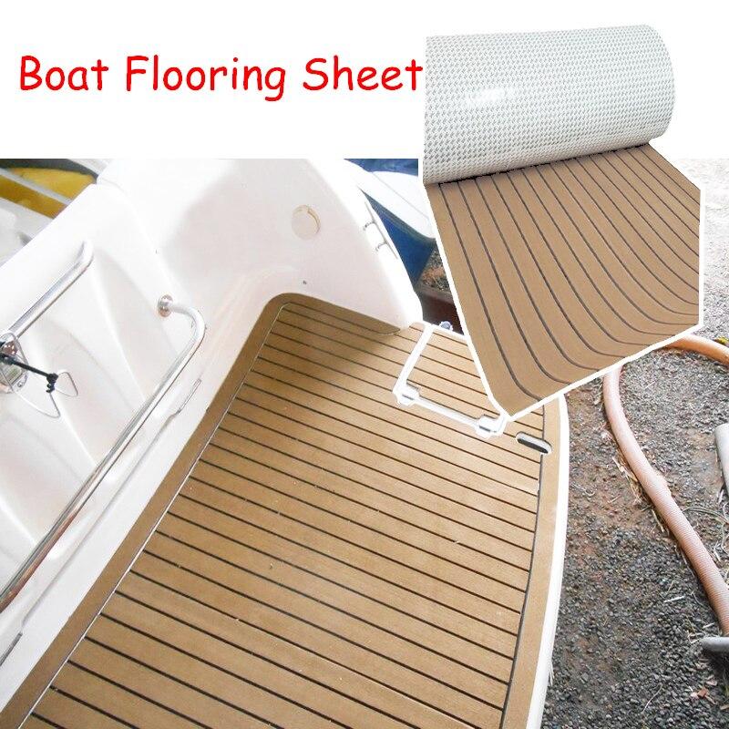600x2400x5mm EVA Foam Imitated Teak Boat Deck Mat Brown Yacht Flooring Anti Skid MatRecreational Vehicle Pad