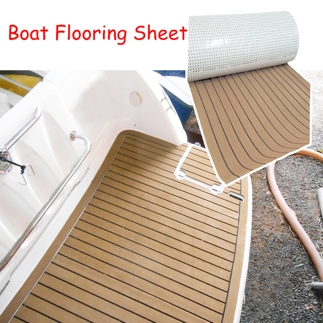 $ US $36.49 600x2400x5mm EVA Foam Imitated Teak Boat Deck Mat Brown Yacht Flooring Anti Skid MatRecreational Vehicle Pad