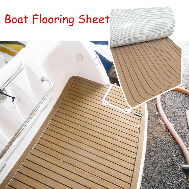 600x2400x5mm EVA mousse imité teck bateau pont tapis marron Yacht plancher anti-dérapant matrécréatif véhicule Pad