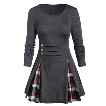 Womail Shirt Women Autumn Winter Long Sleeve Tartan Tunic Pullover Tops Irregular Plaid Print Pullover Blusas Feminina Plus Size 3