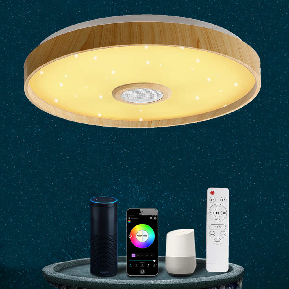 36W Modern LED Smart Ceiling Light WiFi APP Intelligent Control Remote Control Ceiling Lamp RGB Dimming Music Home Party Light