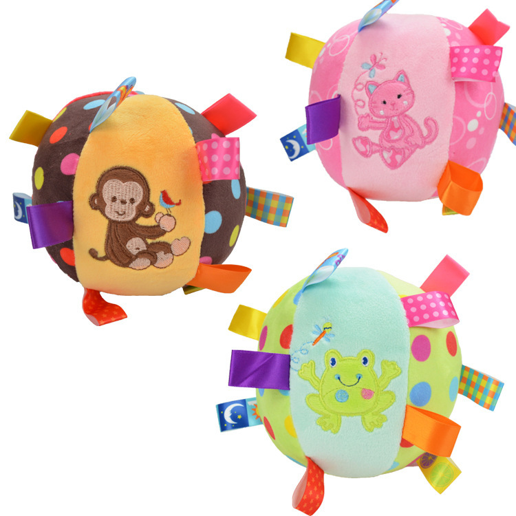 Foreign Trade Toy Ball Infant Ball Super Soft Pacify Ball Label Plush Pacify Ball Doll Rattle Toy