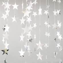 Papel estrela guirlandas 4m parede pendurado corda de aniversário festa de casamento banner artesanal crianças quarto casa decoração da árvore de natal