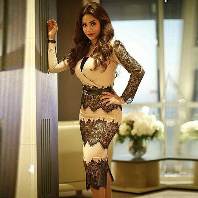 Nancy Ajram Short Mermaid Champagne And Black Lace Long Sleeve Evening Gown Formal Clothes Robe De Soiree Mother Of Bride Dress