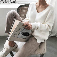 Colorfaith New 2019 Autumn Winter Women's Sweaters V-Neck Minimalist Tops Fashionable Korean Style Knitting Casual Solid SW8112(China)