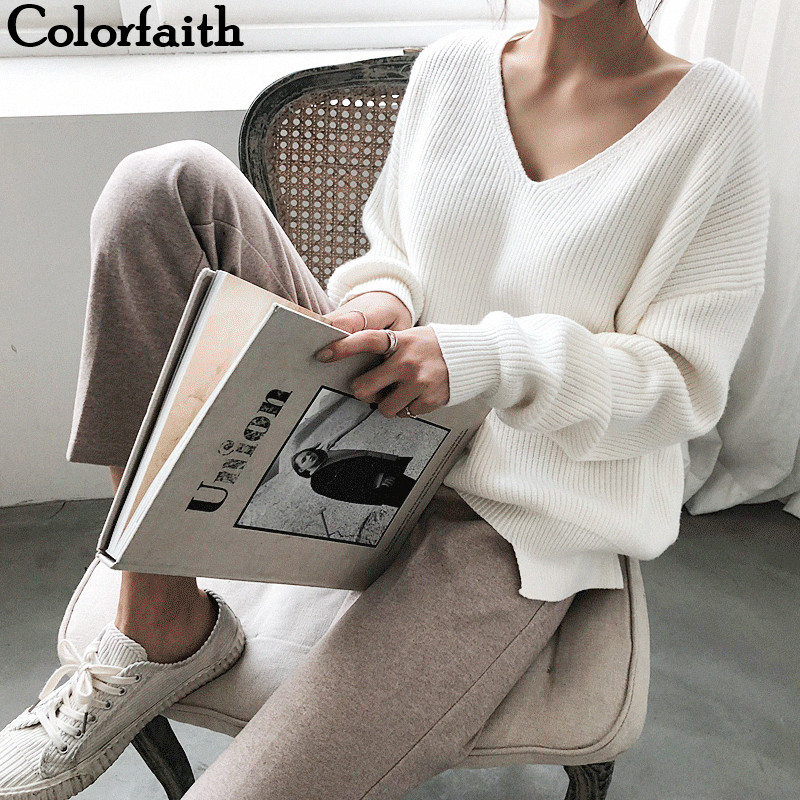 Colorfaith New 2019 Autumn Winter Women's Sweaters V-Neck Minimalist Tops Fashionable Irregular Hem Knitting Casual Solid SW8112