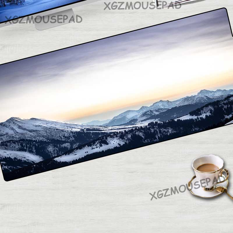 XGZ Landscape <font><b>Large</b></font> <font><b>Mouse</b></font> <font><b>Pad</b></font> Black Lock Edge Beautiful Sunset Snow Mountain Carpet Mat Fabric Rubber Stripe Non-slip <font><b>Xxl</b></font> image