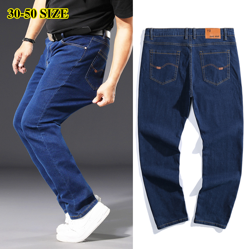 Plus Size 42 44 46 48 50 Classic Men's Jeans Loose Straight Black Blue Jeans Stretch Business Casual Trousers Male Brand Pants