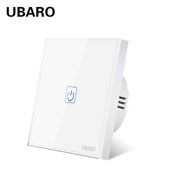 UBARO EU\UK Ac100-240V White Luxury Crystal Glass Panel Wall Light Led Switch Waterproof Conmutador Interuptor 1 Way Switches chint lighting switches 118 type switch panel new5d steel frame four position six gang two way switch panel