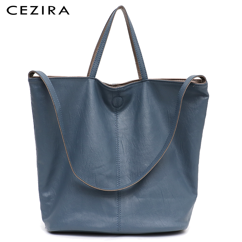 Cezira Vegan Leather Casual Fashion Women Tote Handbag Two Color Reversible Ladies Soft Large Shoulder&crossbody Bag Female Hobo