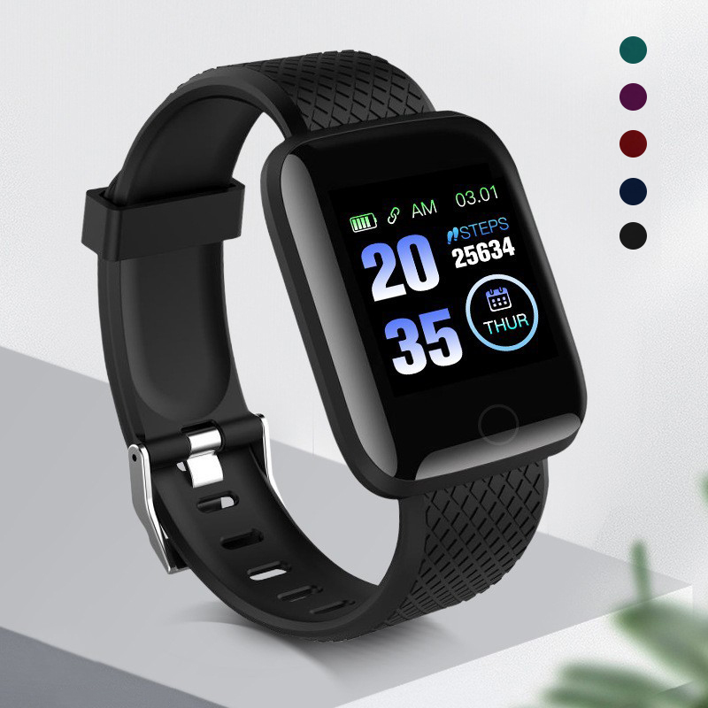 116 Plus Smart Watch Wristband Sports Fitness Silicone Watch Strap Comfortable Band  Rate Call Message Reminder Pedometer