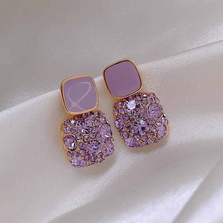 Серьги в стиле ретро, в европейском и американском стиле 2020 новые высококачественные фиолетовые серьги изысканный женский нишу модные серь...