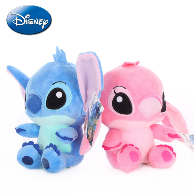 20cm Disney Lilo Stitch Couple Models Cartoon Stuffed Plush Dolls Anime Plush Baby Toys Pendant Toys