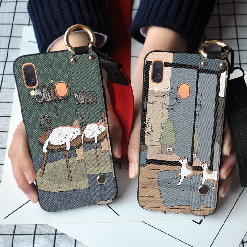 Neck Strap Matte <font><b>Case</b></font> For <font><b>Samsung</b></font> Galaxy A10 A20E M30 A40 <font><b>A50</b></font> A51 A60 A70 A71 A80 A90 5G TPU Cover Ring Holder Capa image