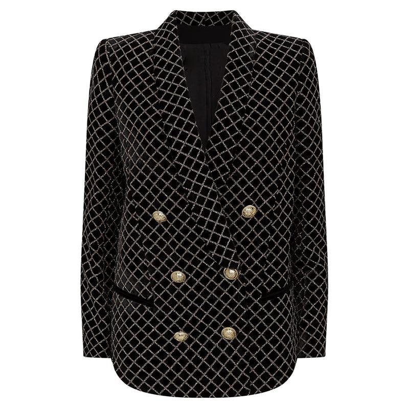 HIGH STREET 2020 Newest Designer Blazer Women's Lion Buttons Shawl Collar Classic Plaid Glitter Embellished Velvet Blazer Jacket