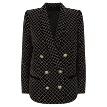 HIGH STREET 2020 Newest Designer Blazer Womens Lion Buttons Shawl Collar Classic Plaid Glitter Embellished Velvet Blazer Jacket