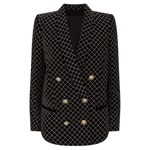 Image 1 - HIGH STREET 2020 Newest Designer Blazer Womens Lion Buttons Shawl Collar Classic Plaid Glitter Embellished Velvet Blazer Jacket