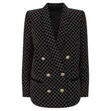 HIGH STREET veste à paillettes en velours pour femmes, à carreaux classiques, boutons lions, à paillettes de styliste, nouvelle collection 2020