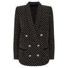 Yüksek sokak 2019 yeni tasarımcı Blazer kadın aslan düğmeler şal yaka klasik ekose Glitter süslenmiş kadife Blazer ceket