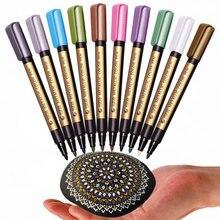10 cores metálico caneta manga permanente escrita arte marcadores de acrílico para pedras patinação papel de parede de vidro desenho