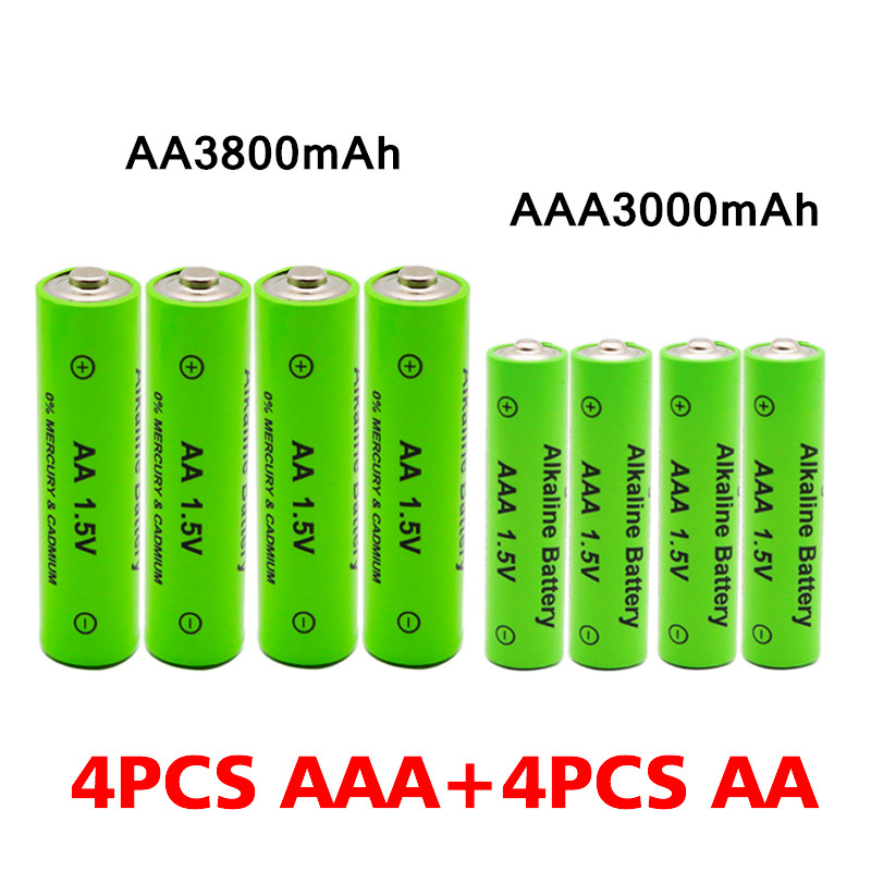 AA + AAA Rechargeable AA 1.5V 3800mAh / 1.5V AAA 3000mah Alkaline Battery Flashlight Toys Watch MP3 Player Replace Ni-Mh Battery 3