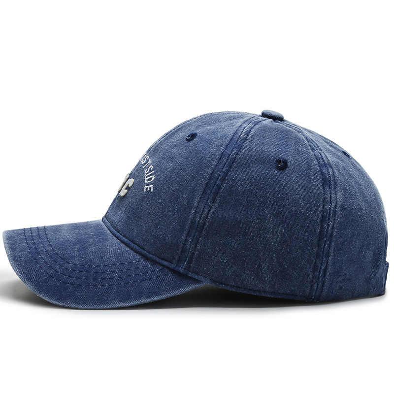 Hommes Sport NYC lettre broderie lavé casquettes de Baseball Hip Hop casquettes trou lettres casquette papa casquette femmes réglable Golf visière Golf chapeau