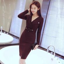Large Size Solid OL Office Work Blazer Dress Women Deep V-neck Corset Midi with Button Split Casual Autumn Dresses