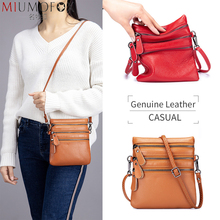 Genuine Leather Women Messenger Bags Three-layer Zipper Interlayer Lady Mini Shoulder Crossbody Bag Fashion New Mobile Phone Bag women s new leather mini mobile phone bag casual children s leather mini mobile phone bag
