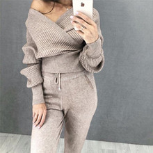 цена Sexy V-Neck Cross Sweatshirt and Pants Two Piece Set Autumn and Winter 2019 New Knitted Tracksuit For Women Casual Clothing Sets