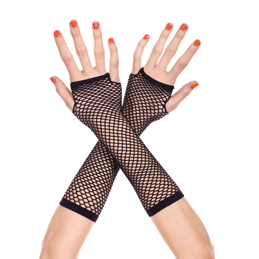 Fashion Black Neon Fishnet Fingerless Long Gloves Leg Arm Cuff Party Wear Fancy Dress For Womens Arm Warmer