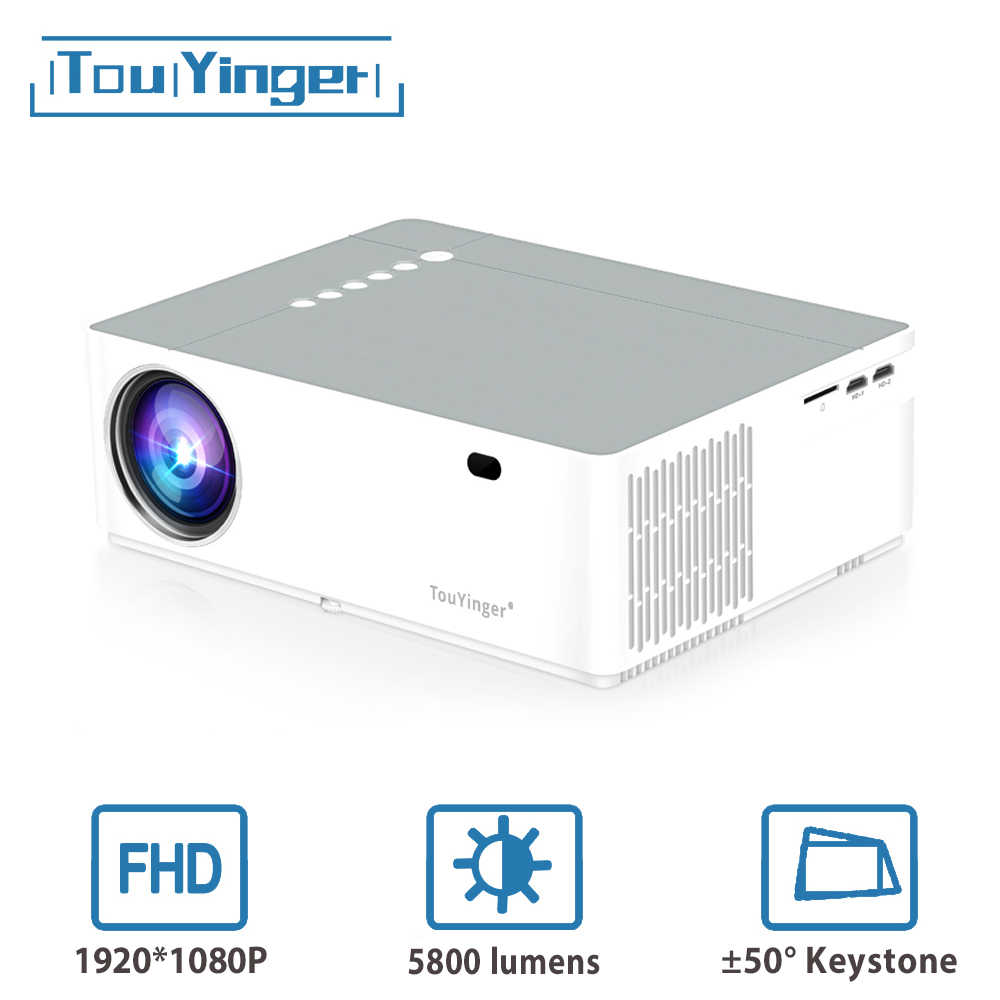 Touyinger M19 Proyektor Full HD 1080P 5800 Lumen Dukungan AC3 LED Video Home Theater Film Full HD Proyektor Android TV Box Opsional