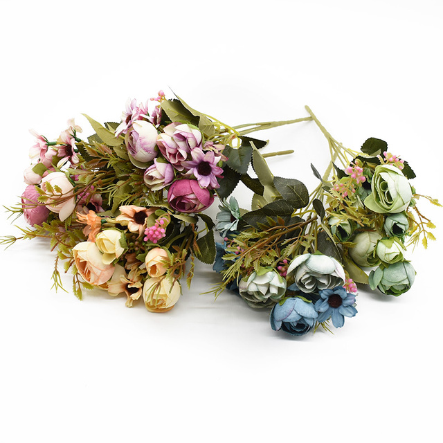 Multicolor Tea Roses Vases for Home Decoration Accessories Fake Daisy Plastic Plants Wedding Decorative Artificial Flowers Cheap 2